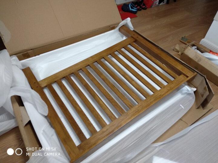 华谊 实木床 中式竖条床1.5米1.8米简易仿古色双人床英式乡村白橡木床 卧室家具 1500*2000mm 晒单图