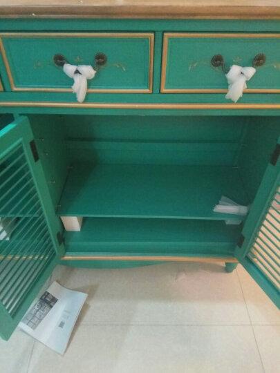UVANART 鞋柜美式乡村木质手工漆 欧式玄关鞋柜木 玄关柜 门厅柜 田园客厅大容量 三门鞋柜-松石绿 晒单图