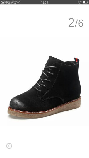 卓诗尼2017冬季新款短靴女绒面擦色圆头马丁靴潮系带内增高时装靴146754216 浅灰色 35 晒单图