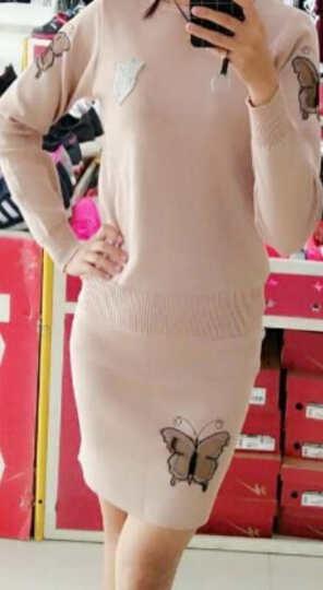 南极人 连衣裙女2018秋冬新品毛衣包臀短裙套装女蝴蝶针织两件套 LX722 酒红 S 晒单图