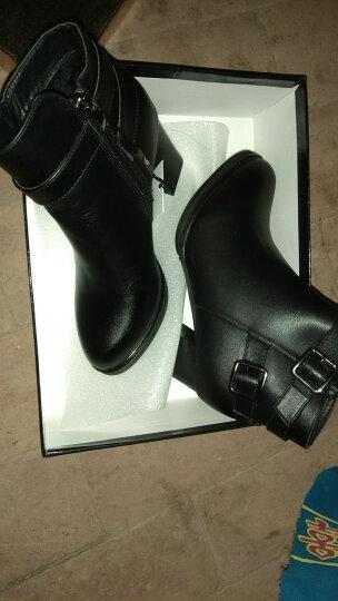 莱卡金顿女靴子加绒短靴女保暖女鞋 2017冬季新款高跟靴圆头粗跟低筒马丁靴子女 1882 棕色 35 晒单图
