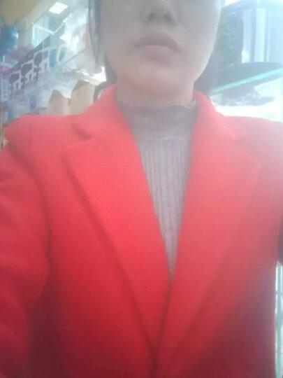 欧芙伦打底衫女长袖套头毛衣2018秋冬新款韩版针织衫短款半高领荷叶袖修身上衣808 灰色 均码 晒单图