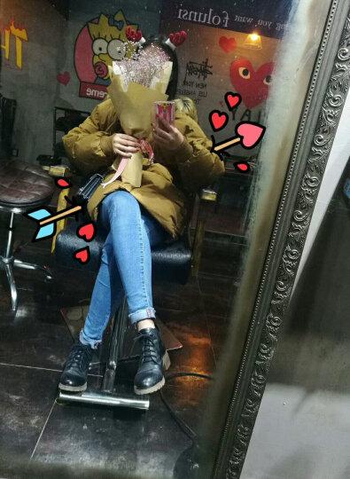 ZEYUBIRD 韩版焦糖色大毛领加厚羽绒服女中长款2017冬装新款宽松蝙蝠袖保暖外套大码 黑色(貉子大毛领) M(适合120-140斤) 晒单图