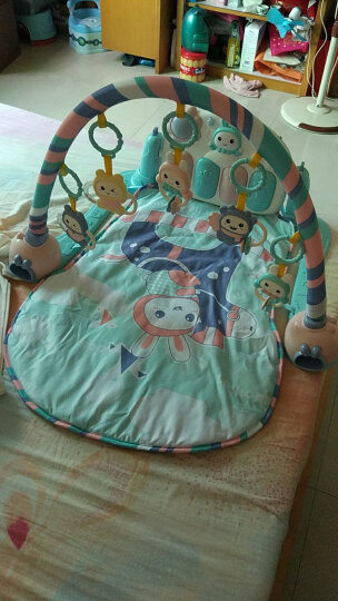 米宝兔 婴儿玩具0-1岁宝宝健身架儿童新生儿脚踏钢琴架早教益智游戏毯垫 MB28亚光红 晒单图