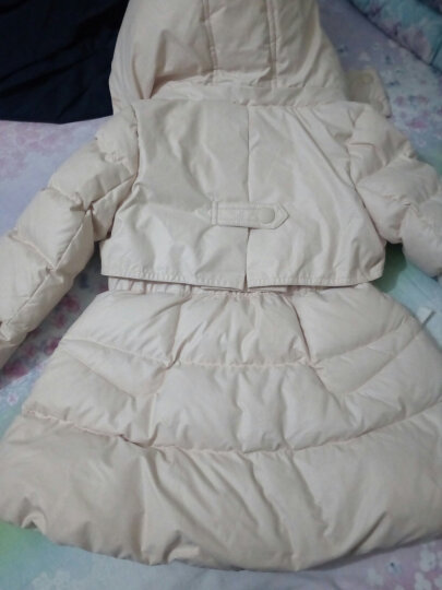 韦氏 儿童羽绒服 女童中长款羽绒服冬季保暖羽绒外套78053象牙黄150 晒单图