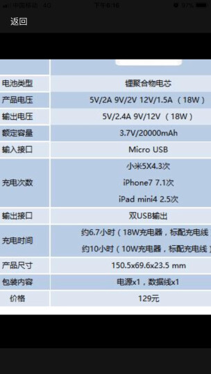 小米(MI)移动电源2C 20000毫安 移动电源2/大容量充电宝 双USB输出 双向快充 聚合物 适用于平板/手机等 晒单图