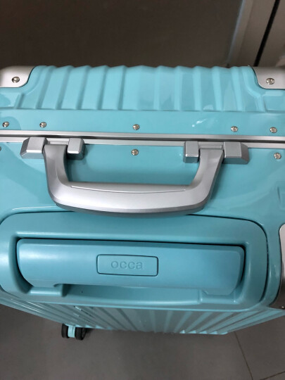 occa新品纯PC拉杆箱铝合金包角旅行箱TSA海关锁行李箱女22英寸/25英寸/29英寸 湖蓝 29英寸 晒单图
