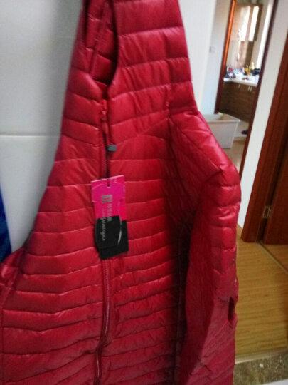 韩菲名模羽绒服女轻薄2017冬装新款女装中长款大码保暖连帽修身外套上衣 酒红色 XL 晒单图