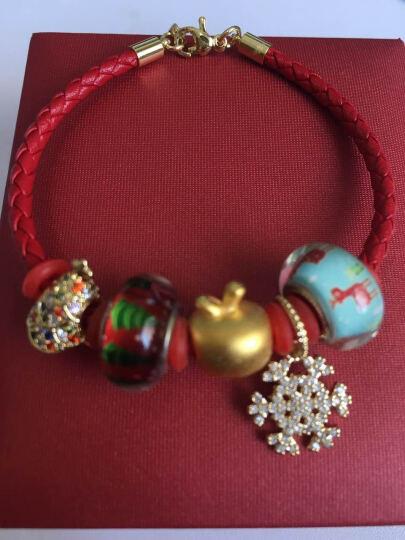圣诞礼物 黄金手链3D硬金小苹果999足金本命年红绳男女款平平安安珠宝首饰 黄金苹果(搭配麋鹿雪花圣诞树) 晒单图