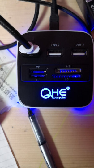 【速发】桌面拓展集线器高速多功能读卡器 USB2.0分线器HUB转换器便携智能兼容设备 黑色 晒单图