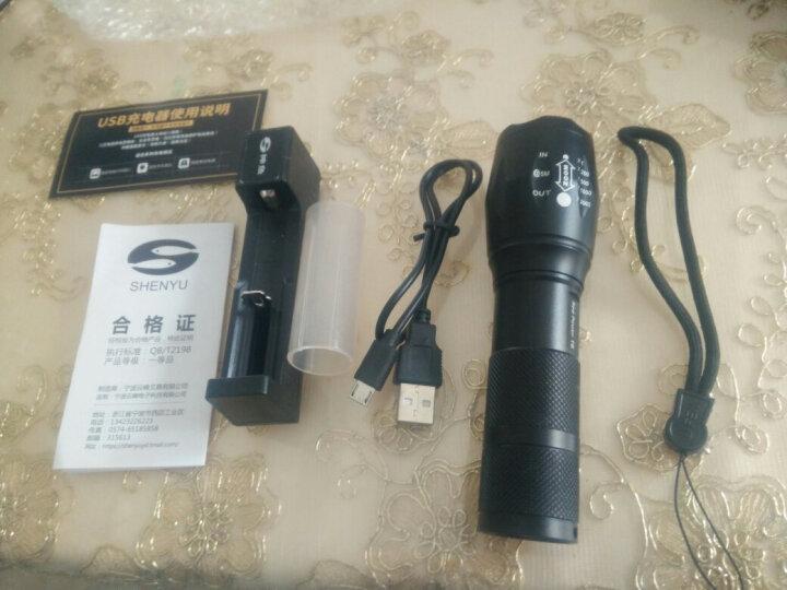 神鱼SHENYU 强光手电筒 可充电式26650家用户外LED远射王 18650电池防水迷你便携照明 1005 T6芯 一电一充18650电池 超值套装 晒单图