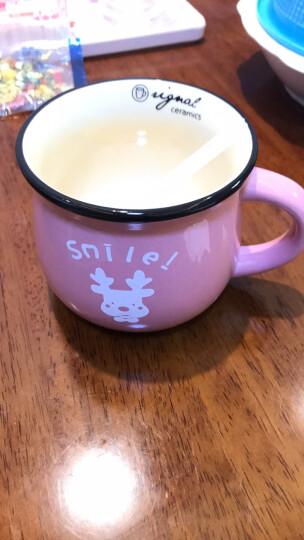 古船 日式复古创意陶瓷杯马克杯大肚杯子牛奶早餐杯咖啡杯彩釉定制带盖勺 浅绿色 蛋糕250ML带盖勺 晒单图