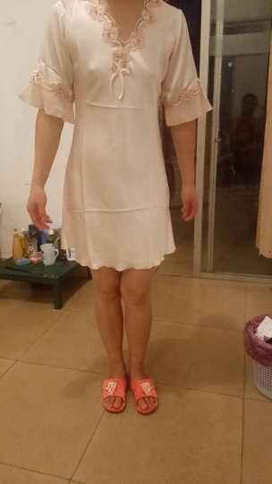 南极人(Nanjiren)睡裙 女仿丝公主甜美短袖睡衣女士韩版薄款家居服性感睡衣N676X20042-8 香槟色M 晒单图