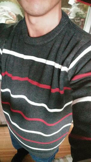 马克金盛毛衣男士圆领加绒加厚针织衫男装韩版修身保暖毛线衣大码毛衫2017秋冬新款 深蓝色(薄款) L 晒单图