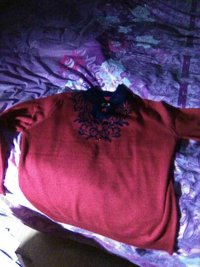 忆纯绒中老年女装秋冬装打底衫妈妈装毛衣女大码针织衫保暖服饰上衣 浅紫(ZD5563) 5XL 晒单图