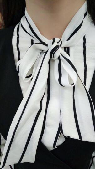 音舒雅职业装女装套装黑色修身中长款商务通勤气质蝴蝶结衬衫领外套小西装工作服五件套 西装+白色衬衫+裙子(需要黑色衬衫,请留言) S(建议90斤左右) 晒单图