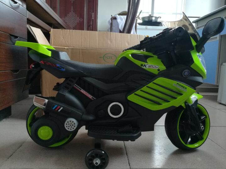 宝贝虎 儿童电动车儿童电动摩托车三轮车小孩可坐玩具车男女宝宝婴儿电瓶车可充电童车 顶配绿色+灯光+自驾+音乐早教 晒单图
