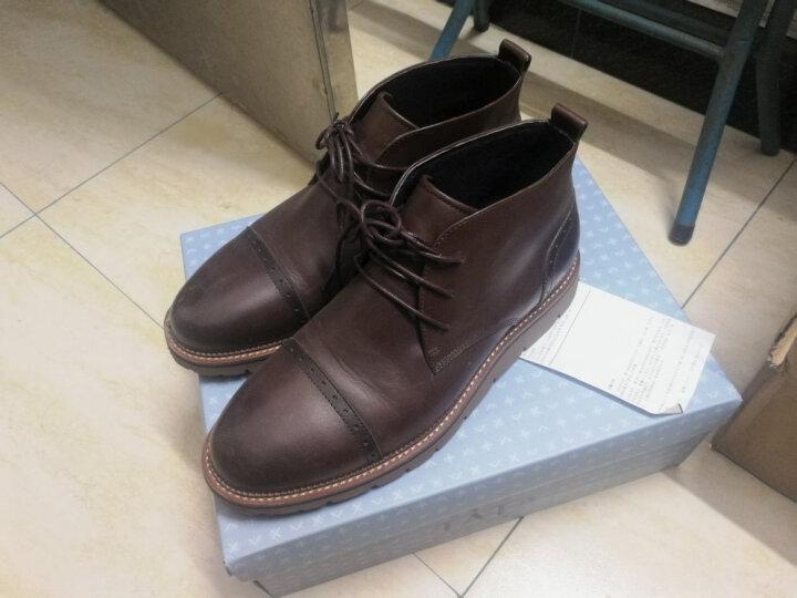 Tata/他她男鞋牛皮绑带平底时尚加绒保暖短靴休闲靴子男QQU46DD6 棕色(毛里) 39 晒单图