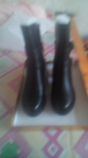 粗跟短靴女靴坡跟女鞋冬季低筒女士中跟马丁靴加绒保暖中筒靴 棕色 37正码 晒单图