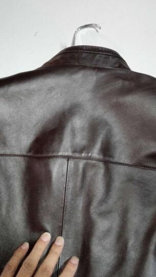 比菲力头层真皮皮衣男海宁绵羊皮2019秋冬款外套修身韩版男士机车皮夹克 宝蓝色夹棉款 175(XL) 晒单图