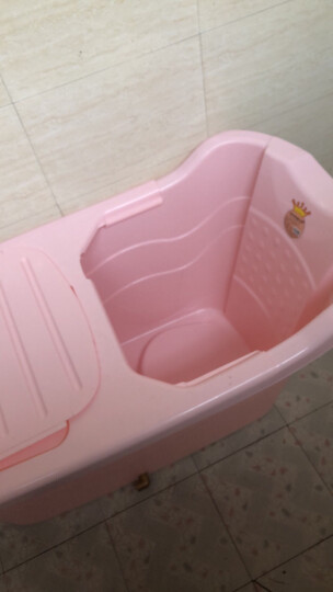 皇家贵族宝贝2020款折叠洗澡桶大号加厚成人塑料浴桶儿童游泳池沐浴桶家用浴缸浴盆泡澡桶 大号粉色无盖+靠垫 晒单图
