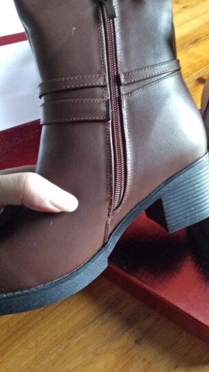 羊小姐新款百搭秋冬短靴女粗跟高跟防水台加绒保暖中筒靴女靴英伦风马丁靴冬季靴子 黑色 39 晒单图