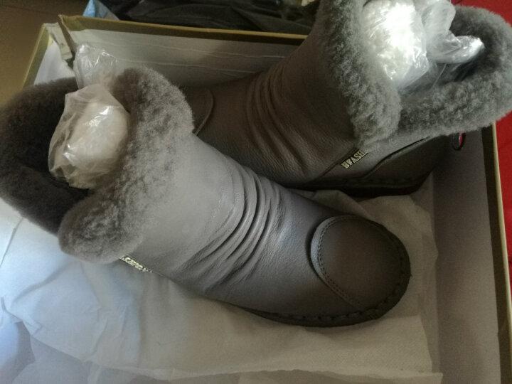 高蒂(gaodi)雪地靴女牛皮厚底休闲靴子平跟毛绒拼接圆头侧拉链绒里短靴女 黑色 38 晒单图