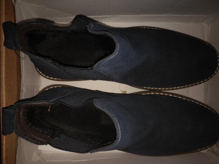 拉蒂公牛 棉鞋男鞋休闲鞋中帮冬季加绒保暖时尚反绒皮商务靴子 黑色(秋款单鞋) 39 晒单图