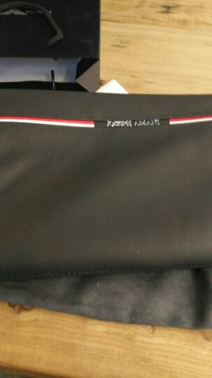 卓梵阿玛尼头层牛皮男士手包 男大容量手拿包休闲信封包手抓包条纹潮 黑色 晒单图