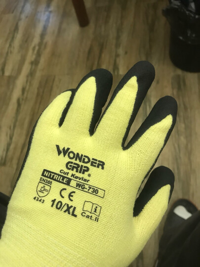 Wonder Grip多给力Cut Kevlar凯夫拉耐阻燃防割防刺耐磨耐油丁腈浸胶劳保工作手套 WG730 1双装 M码 晒单图