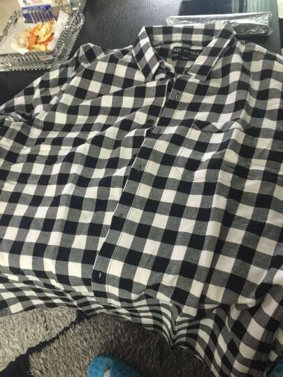 以纯线上品牌A21 2018冬季新品纯棉修身黑白格子衬衫男 休闲经典衬衣4741170015 黑色 185/96A/XXL 晒单图