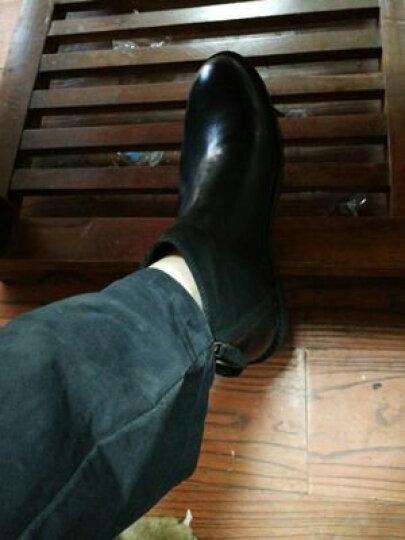 男士高帮皮鞋马丁靴男短靴真皮英伦复古潮流切尔西靴韩版百搭厚底增高圆头个性双拉链牛皮靴子潮 黑色磨砂 38 晒单图