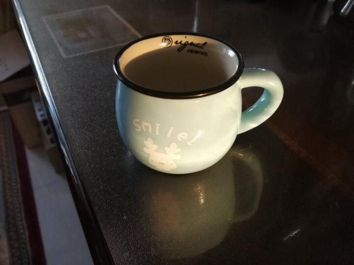 古船 日式复古创意陶瓷杯马克杯大肚杯子牛奶早餐杯咖啡杯彩釉定制 浅绿色 蛋糕250ML 晒单图