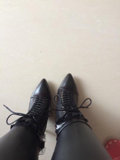 柯桐 细跟高跟短靴女真皮蕾丝花边女靴子大小码系带时装靴子2017秋冬新款马丁靴裸靴单靴子 黄色 40  定做不退不换 晒单图