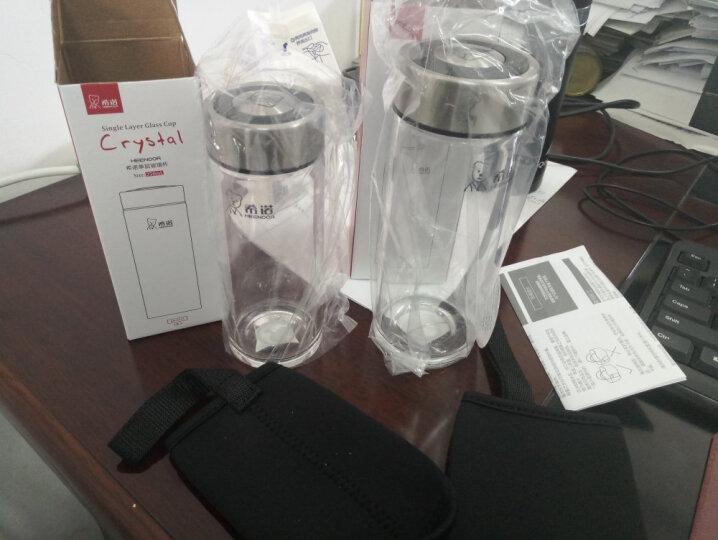 希诺单层加厚玻璃杯 透明水杯密封带盖男女士便携茶杯 6017 490ML 晒单图
