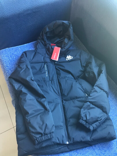 Kappa卡帕 羽绒服男款短款保暖加厚运动背靠背外套男冬季 黑色-990 L 晒单图