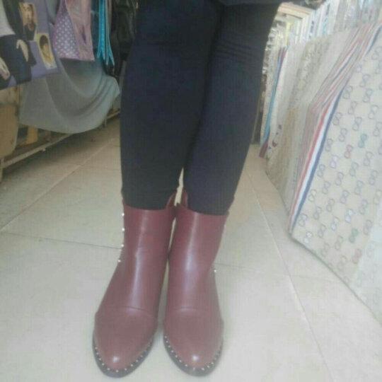 粗跟短靴女靴 秋冬季新款女鞋保暖加绒中跟踝靴女士靴子裸靴高跟切尔西靴冬鞋女 1355酒红色 38正码 晒单图