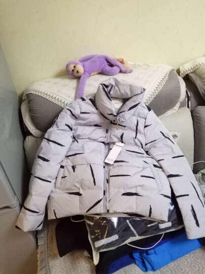 千荟雪羽绒服女短款2017冬季新款韩版修身显瘦立领印花羽绒衣短外套女保暖加厚冬装 白色 3XL 晒单图