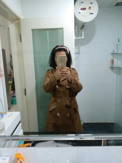 美依央 风衣女2017秋季新款韩版修身显瘦收腰双排扣中长款风衣外套女 砖红色 3XL 晒单图