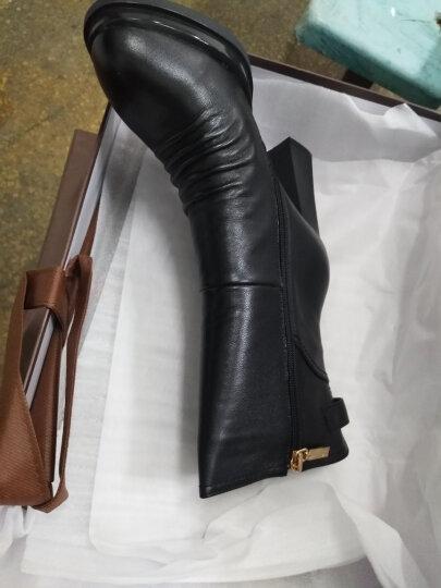 红蜻蜓女靴 时尚中筒靴擦色褶皱金属扣方跟女棉靴 WFC62501/02 灰色 34 晒单图