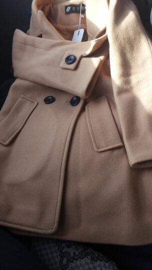 美梵林短款女士短外套呢子外套女中长款矮个子长袖毛呢大衣气质2017新款秋冬女装保暖斗篷厚 锦绣红 2XL 晒单图