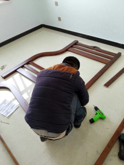 童梦 全实木爬梯高低床 实木儿童床爬梯款全实木子母床上下床 胡桃木色(配书架和床体双抽) 上1米下1.35米 晒单图
