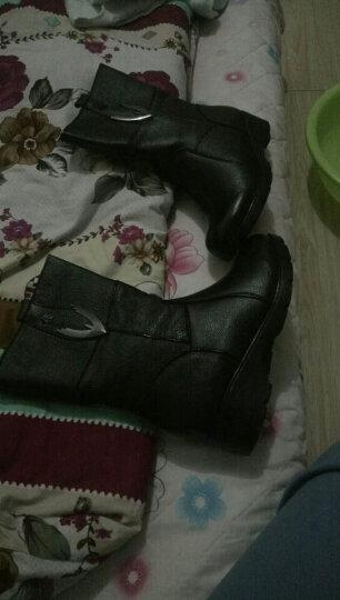 莎美茜女靴真皮马丁靴女士加绒保暖棉鞋舒适妈妈鞋欧美风潮流中筒靴子女 黑色厚里 37 晒单图