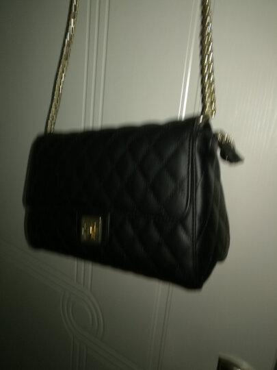奥康(Aokang)女包金属链条菱格纹小香风斜跨小包欧美时尚复古包包 8515301061 黑色 晒单图