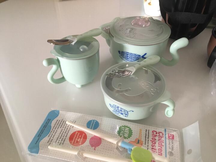 babycare 儿童餐具宝宝餐具注水保温碗婴儿碗 宝宝训练套装餐具水杯吸盘碗 晨雾绿五件套(316材质) 晒单图