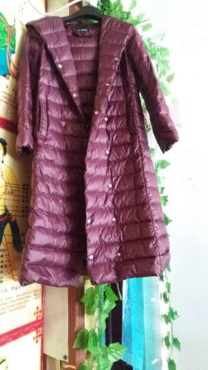 魅思梵中长款羽绒服女轻薄款连帽过膝风衣外套反季促销清仓 紫红色 L 晒单图