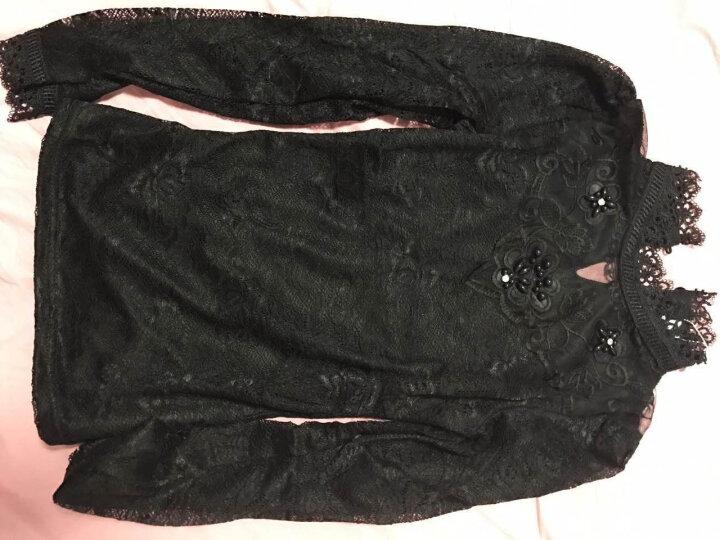 情雪莲 打底衫女秋冬季新款长袖蕾丝小衫衬黑色韩版上衣大码修身加绒加厚高领蕾丝衫 黑色加绒 L 晒单图