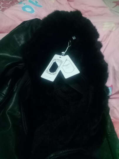 迪娜苏皮衣女外套中长款2017冬新品加绒加厚大码PU皮衣女 黑色 XL/170偏小一码建议买大一码 晒单图
