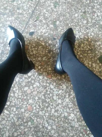鄂尔瑞拉新款真皮单鞋女粗跟尖头坡跟妈妈鞋浅口职业工作女皮鞋大码女鞋子 366黑色 37 晒单图