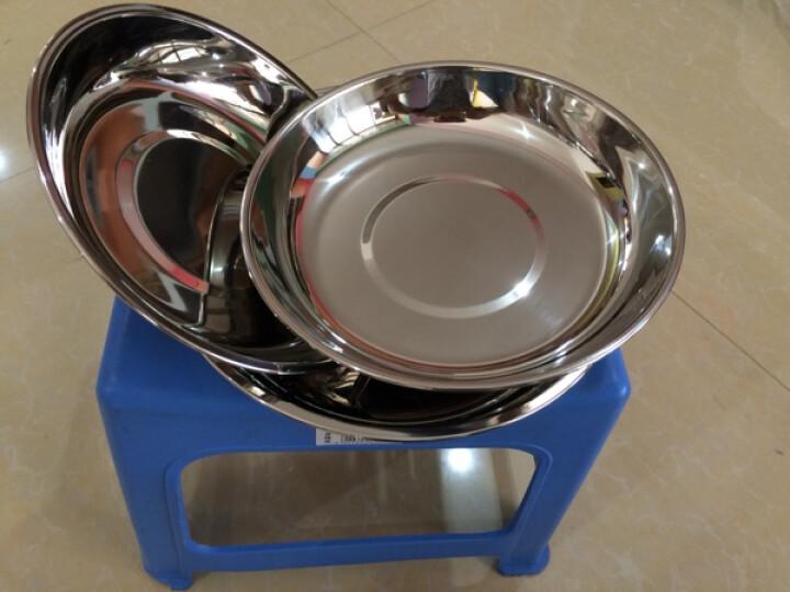 加厚不锈钢盘菜盘圆盘子不锈钢碟子饭盘汤盘水果盘平盘 18cm 晒单图